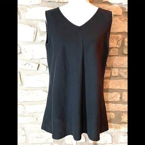 Flax Black Linen V-Neck Tank -Small